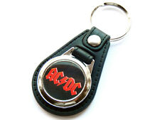 ACDC Classic Rock Band Quality Leather and Chrome Keyring