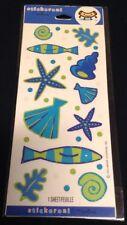 Vacation Beach Theme Blue & Green Scrapbook Stickers From Hallmark 1 Sheet