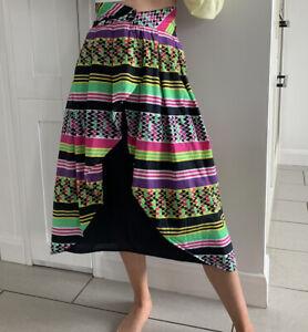 Vintage Souad Midi Skirt Size 6 Boho Bright Bold Made In Italy