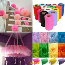 UK 6''  x 25 Yards Tulle Roll Tutu Skirt Fabric Wedding Party Chair Bows Decor