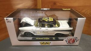 """NEW M2 1957 CHEVROLET 210 HARDTOP  """"WEIAND INTAKES""""  1/24 DIECAST"""