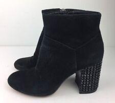 Michael Kors Arabella Ankle Boot Women's Jeweled Heel Black Suede Leather Sz 6 M