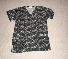 Sea Grape Scrubs Top- Black, White and Grey Circle Print - Size Small