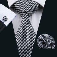 Black white men's silk tie set handkerchief cufflinks free postage sn-774
