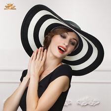 lady stripe large wide brim straw hat summer beach floppy sun cruise hat