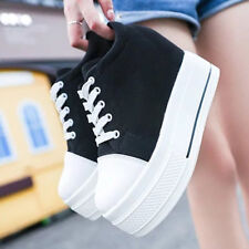 Women Casual Canvas Platform Hidden Wedge High Heel Lace-up Creepers Sneakers