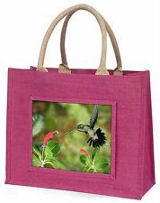 Green Hermit Humming Bird Large Pink Jute Shopping Bag Animal Gift Ab-95blp