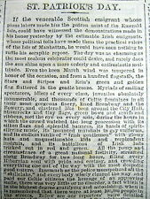 1869 newspaper ST PATRICKS DAY PARADE in New York City DESCRIBED IN GREAT DETAIL