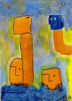 21022552 e9Art ACEO Abstract Figurative Expressionism Outsider Art Painting Brut