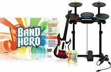 NEW Nintendo Wii Band Hero Super Bundle Wireless Drums Guitar Game & Mic