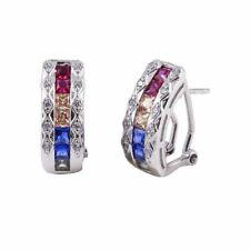 Sterling Silver Multi Color CZ Stones Clip on Hoop Earrings