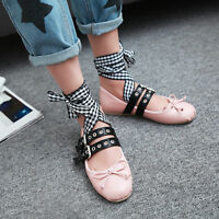 Womens Flat Heel Shoes Lace Up Strap Buckle Bowknot Ballet Flats Shoes Fashion