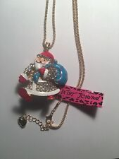 Betsey Johnson Crystal Santa Claus W/ Blue Santa Bag Pendant Necklace -Bj407