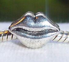 Lips Mouth Kiss Love Large Hole Bead fits Silver European Style Charm Bracelets
