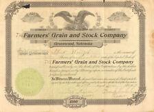 1909 Farmers Grain Greenwood Nebraska stock certificate