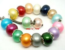 Beautiful Faux Pearl Lampwork Glass Beads Fit European Charm DIY Bracelet Gift