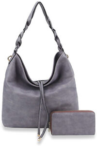 Embossed Twisted Handle Classic Hobo Shoulder Bag with Wallet
