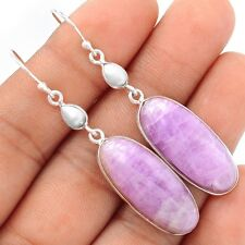 Pink Kunzite Cabachons & Pearl 925 Silver Earrings Jewelry SE101365