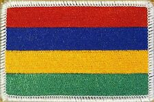 MAURITIUS Flag Iron-On Military Patch Morale Emblem WHITE Border #21