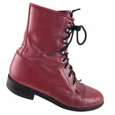 Justin Womens 6.5 B Red Leather Lace Up Roper Cowgirl Boots Style L 531 USA R4S3