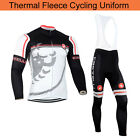 Mens Winter Bike Cycling Uniform Fleece Jersey Bib Pants Kits Warm Shirt Tights