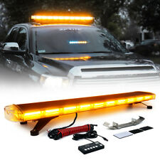 """Amber 88 LED 47"""" 28 Modes Rooftop Emergency Strobe Light Bar Plow Tow Truck"""
