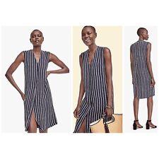Ann Taylor Navy White V Neck Sleeveless Straight Striped Dress Tunic Size Small