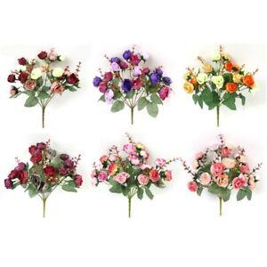 1 Bouquet Roses Artificielles Fausses Fleurs 21Head Maison Décoration