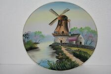 Ucagco Japan Art Pottery Hand Painted Porcelain Cabinet Plate Windmill Waterside
