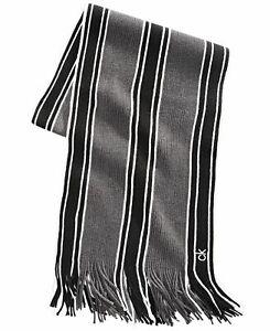 Calvin Klein Mens Accessories Gray One Size Striped Fringe-Trim Scarf $55 146
