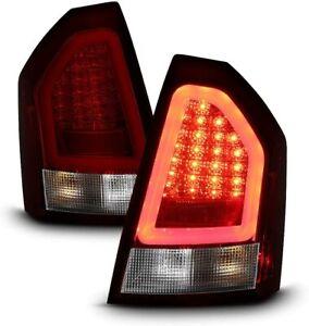 Fit Chrysler 08-10 300C Red Clear LED Tube Tail Brake Lights Left & Right Set