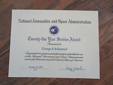 vintage 1975 NASA 25 year Employee Service Award Certificate Document