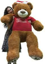 5 Foot Giant Teddy Bear Wears Santa Hat and Merry Christmas Tshirt