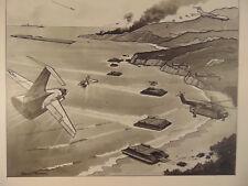 4 Black white sketches Pierre Mion U.S. Marine Corp. landing crafts planes art