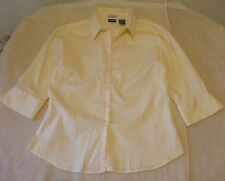 Tangents Size L Button Front Light Yellow Polyester Blend Shirt, 3/4 sleeves