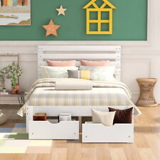 Queen Full Twin Bed Frame Headboard Wood Beds Storage Drawers Bedroom Furniture