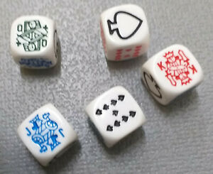 Quality Poker Dice Set.  With Rules.