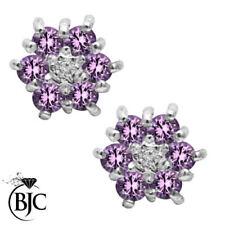 Orecchini di lusso con gemme viola tondi diamante
