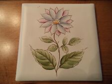 Vintage Handpainted 4 X 4 Tile ~Floral ~pink/blue~Japan~ACCENT/CRAFTS/BACKSPLASH
