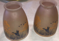2 Vintage 1940's Or 50's Frosted Lamp Shade Duck Geese Design Unusual Pair