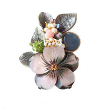 Wholesale Lot 5PCS Handmade Flower Mother of Pearl Antiqued Brooch Pendant Gray