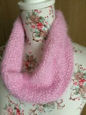 Hand Knitted Cowl Scarf: Pink with Sparkle, Very Soft, One Size