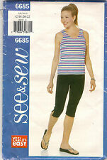 Butterick Sewing Pattern 6685, Top Pants Dance, Exercise, Adult 18 - 22, Uncut