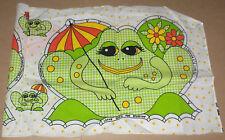 "Smiling ""Gingham Frog"" w/ Flowers & Umbrella Cut & Stuff Fabric Pillow Panel"
