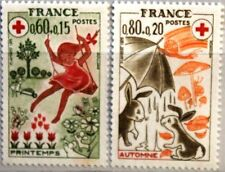 France FRANCIA 1975 1942-43 CROCE ROSSA RED CROSS Girl Flowers Rabbit MNH
