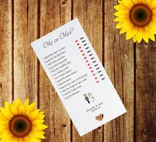Personnalisé Mariage M. ou Mme cartes x12 Table de jeu faveur je Lunettes Adulte MM1