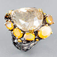 Handmade27ct+ Natural Rutilated Quartz 925 Sterling Silver Ring Size 8/R124123