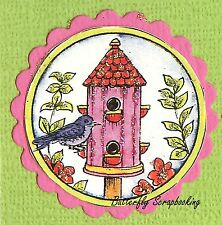 Bird Round Birdhouse In Circle Wood Mounted Rubber Stamp Northwoods C10011 New