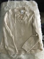 NWT J Crew Womens Stylish Tie Up  V Neck sweater Natural Ivory Beige Size XL