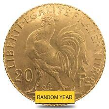 20 Francs French Rooster Gold Coin AU AGW .1867 oz (Random Year)